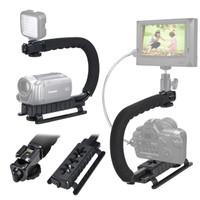 C U Shape Handle Video Stabilizer Mount Stand Hotshoe for DSLR Kamera
