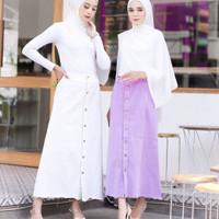 Rok Jeans Denim Rawis Lora skirt Lilac Hitam putih Maroon Army - Lilac