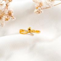 Cincin wanita Love permata Putih jejer cantik Ring Gold shop Emas asli