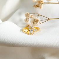 Cincin wanita bulat permata Putih Cantik menarik Ring Gold Emas asli