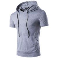 kaos hoodie lengan pendek kupluk polos fashion pria