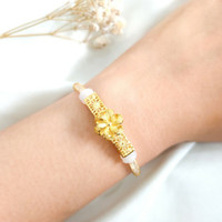 Gelang Charm Bunga Pandora Wanita Korea Hadiah Teman Gold Emas asli