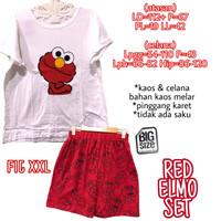 Red Elmo Set SETELAN KAOS CELANA MELAR PINGGANG KARET JUMBO XXL 2XL 2L