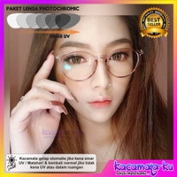 Kacamata Minus Wanita Lensa Photocromic Anti Radiasi UV 214