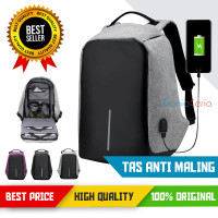 Ransel / Backpack / Tas Anti Maling / Plus Port USB Powerbank - Biru Muda