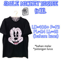 Smile Mickey Bigtee KAOS WANITA MELAR HITAM ADEM JUMBO BIGSIZE XXL 2XL