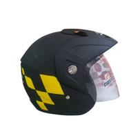 Helm Half Face GP Echo Moto GP Black Doff Yellow