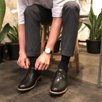 sepatu kulit pria sepatu kulit asli sepatu fashion sepatu pria - Hitam, 43