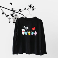 Baju Wanita Kaos Lengan Panjang BTS BT21 Cartoon Friends Top T-Shirt