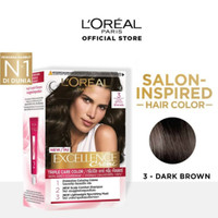 LOREAL Excellence Creme Pewarna Rambut 3 - Dark Brown