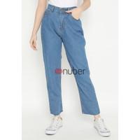 Celana Panjang Wanita Jeans Boyfriend Potong Karet Blue-Kunal