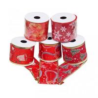Pita Pohon Natal Roll Merah Gambar Natal 6cm-Pita Natal-Aksesoris Nata