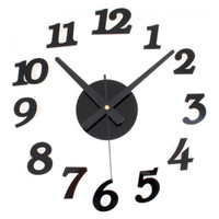 Jam Dinding Unik Besar Jam Tembok Giant Wall Clock Quartz 30-50cm - Hitam