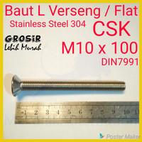 Baut L Flat M10 x 100 Verseng SUS304