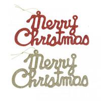 Gantungan Tulisan Merry Christmas Glitter 24cm-Aksesoris Natal-Hiasan
