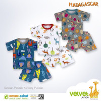 Velvet Junior Setelan Pendek Baju Kaos Oblong Bayi Anak - S M L XL XXL