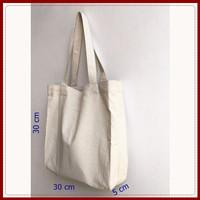 tote bag kanvas polos warna putih gading lebar / totebag / tas tote w