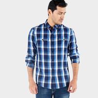 Kemeja Lengan Panjang/ Wallace Blue White Shirt 24623B5BI - Bombboogie