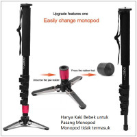 Tripod 3 Leg Feet Floor Base Monopod Kaki Bebek Universal 3/8 in B Red
