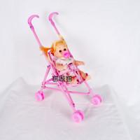Mainan Anak Stroller Bayi Dorongan Boneka Baby Kereta Dorong Lipat
