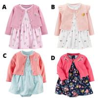 Baju Dress Kardigan Cardigan Set Anak Bayi Perempuan Lucu Murah BG2020 - model B, 6-9 Bulan