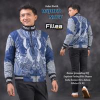 fillea jaket pria batik Wijoyo navy allsize fit to xl puring katun ero