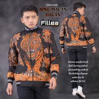fillea jaket pria batik Macan Sogan allsize fit to xl puring katun ero