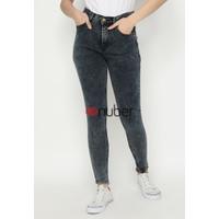 Celana Panjang Jeans Highwaist Wanita Retro Black Stretch - Tulip