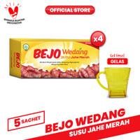 Bejo Susu Jahe Merah (SUJAMER) 4 Pack ( 20 Sachet ) FREE Gelas
