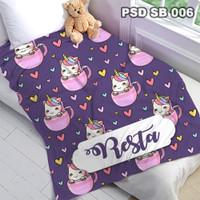 Selimut Custom Nama Bayi Anak Karakter Bulu Halus Import PSD SB 006