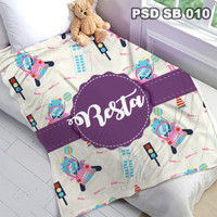 Selimut Custom Nama Bayi Anak Karakter Bulu Halus Import PSD SB 010