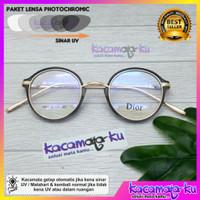Kacamata wanita korea vintage retro bulat lensa photocromic