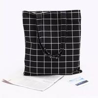 Tote Bag Kanvas / Totebag Murah / Tas Murah / Grid / Motif Kotak - Putih