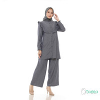 Setelan Muslim Wanita | Dasya Set Abu | S M L XL | Linen Triji
