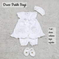 Baju Bayi Perempuan 1 Set Dress Akikah Aqiqah Baptis Newborn Putih