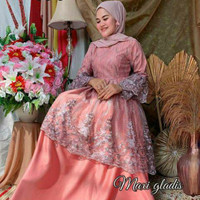 Gamis brukat modern Gladis Maxy mewah Original by Pelangi Jaya terbaru - Tiga, M