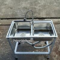 set portable kitchen sink 2 lubang stainless wastafel cuci piring
