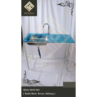 Bak cuci tangan/piring kitchen sink dapur set kran toilet komplit