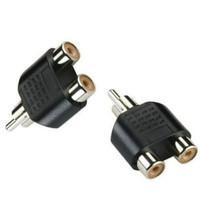 Jack RCA Male ke 2 Dual RCA Female Audio Pin Spliter Stereo Conector