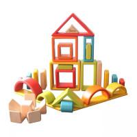 Mainan kayu anak rainbow block wooden toys montessori