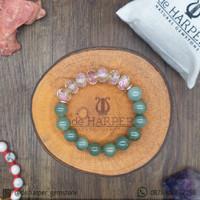 Gelang Batu Natural Jadeite Jade (Giok Asli), Flower Glass Beads - 14cm