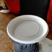 tatakan pot plastik putih ukuran 30-35-40 cm