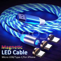 Kabel Data Charger Magnet Full LED 3in1 iPhone Micro Type C Support 2A