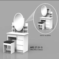 Meja rias oval putih pintu glossy