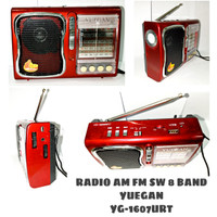 RADIO PORTABLE AM FM SW 8 BAND TF USB MP3 PLAYER YUEGAN YG-1607