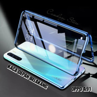 OPPO A91 2020 MAGNETIC DOUBLE GLASS CASE OPPO A91 CASING OPPO A91