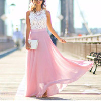 DRESS MAXI BRUKAT WANITA IMPORT - Merah Muda, L