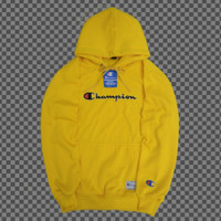 jaket sweater champion kuning bordir tulisan/hoodie pria premium