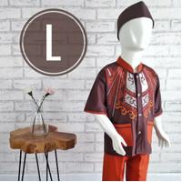 (12T) Setelan Baju Koko Anak 11-12 Tahun Katun Bordir Kanvas Nara Kids