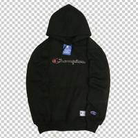 jaket sweater champion hitam bordir tulisan/hoodie murah premium
